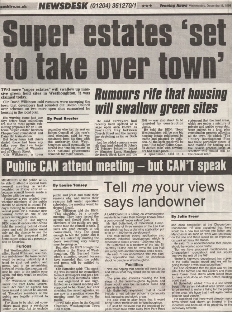Bolton News Article 9th December 1998: 'Super Estates Set to Take Over Town' (Westhoughton)